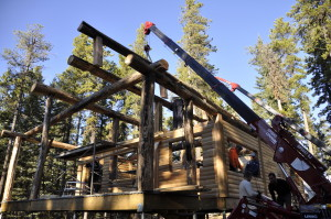 Spydercrane at work on log cabin